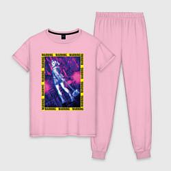 Пижама хлопковая женская WARNING цвета светло-розовый — фото 1