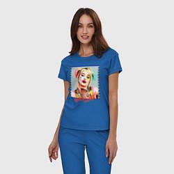 Пижама хлопковая женская Harley Quinn XX цвета синий — фото 2