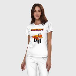 Пижама хлопковая женская Minecraft - лиса цвета белый — фото 2