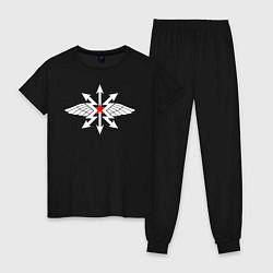 Пижама хлопковая женская Войска связи цвета черный — фото 1
