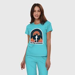 Пижама хлопковая женская Бег цвета бирюзовый — фото 2