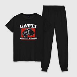 Пижама хлопковая женская Gatti цвета черный — фото 1