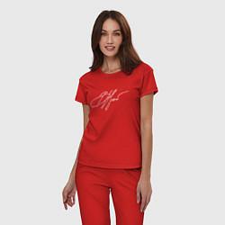 Пижама хлопковая женская ВЦой Автограф цвета красный — фото 2