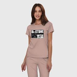 Пижама хлопковая женская Доктор Стоун цвета пыльно-розовый — фото 2