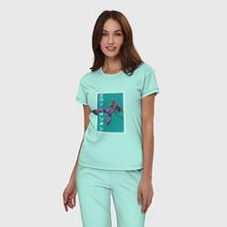 Пижама хлопковая женская Евангелион цвета мятный — фото 2