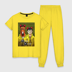 Пижама хлопковая женская BoJack Horseman цвета желтый — фото 1