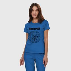 Пижама хлопковая женская RAMONES цвета синий — фото 2