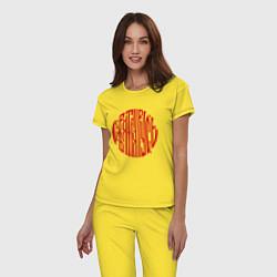 Пижама хлопковая женская Вязь Святая Русь цвета желтый — фото 2