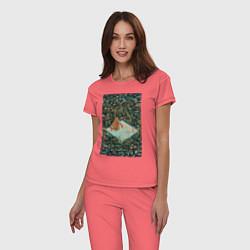 Пижама хлопковая женская BoJack Horseman цвета коралловый — фото 2