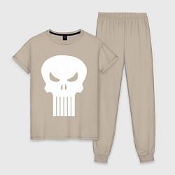Пижама хлопковая женская The Punisher Череп цвета миндальный — фото 1