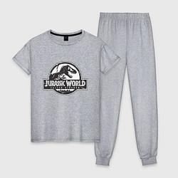Пижама хлопковая женская Jurassic World цвета меланж — фото 1