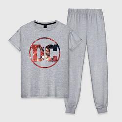Пижама хлопковая женская Wonder Woman цвета меланж — фото 1