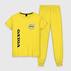 Пижама хлопковая женская VOLVO цвета желтый — фото 1
