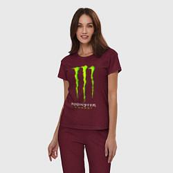 Пижама хлопковая женская MONSTER ENERGY цвета меланж-бордовый — фото 2