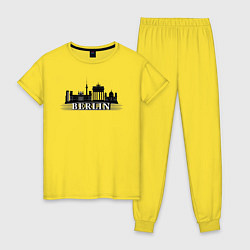 Пижама хлопковая женская Берлин цвета желтый — фото 1