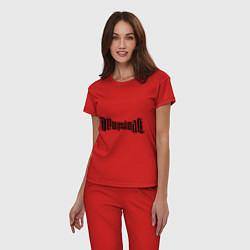 Пижама хлопковая женская Амбиграмма Иллюминати цвета красный — фото 2