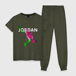 Пижама хлопковая женская MICHAEL JORDAN Z цвета меланж-хаки — фото 1