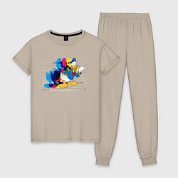 Пижама хлопковая женская Дональд Дак цвета миндальный — фото 1