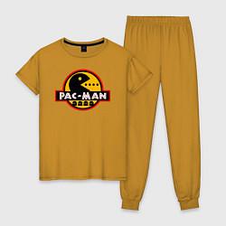 Пижама хлопковая женская PAC-MAN цвета горчичный — фото 1