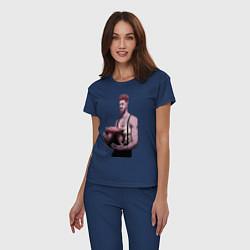 Пижама хлопковая женская Суинни цвета тёмно-синий — фото 2