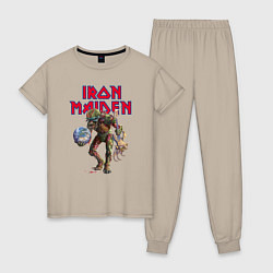 Пижама хлопковая женская Iron Maiden цвета миндальный — фото 1