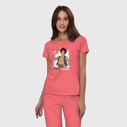 Пижама хлопковая женская Аладдин цвета коралловый — фото 2