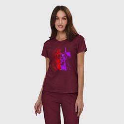 Пижама хлопковая женская Brothers of Destruction цвета меланж-бордовый — фото 2