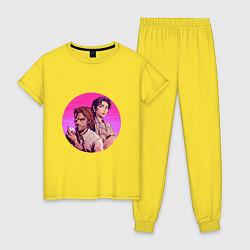 Пижама хлопковая женская Бигби и Белоснежка цвета желтый — фото 1