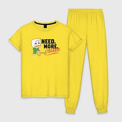 Пижама хлопковая женская Need More Sleep цвета желтый — фото 1