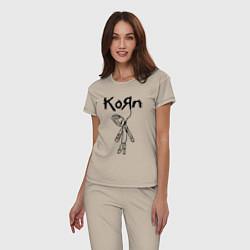 Пижама хлопковая женская Korn цвета миндальный — фото 2