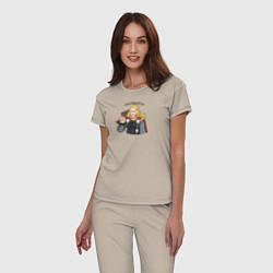 Пижама хлопковая женская Златовласка цвета миндальный — фото 2