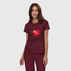 Пижама хлопковая женская Я люблю Волгу цвета меланж-бордовый — фото 2