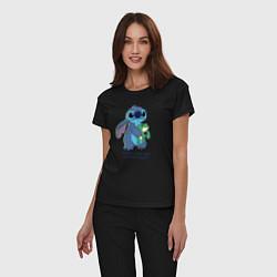 Пижама хлопковая женская Стич цвета черный — фото 2