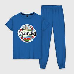 Пижама хлопковая женская Азербайджан цвета синий — фото 1