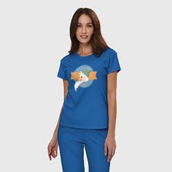 Пижама хлопковая женская Скромник цвета синий — фото 2