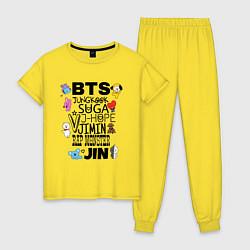 Пижама хлопковая женская BTS BT21 цвета желтый — фото 1