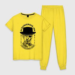 Пижама хлопковая женская Хайзенберг цвета желтый — фото 1