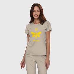 Пижама хлопковая женская 00892-B цвета миндальный — фото 2