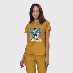 Пижама хлопковая женская 10 Diego Maradona цвета горчичный — фото 2