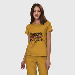 Пижама хлопковая женская Каждую пятницу я в говно цвета горчичный — фото 2