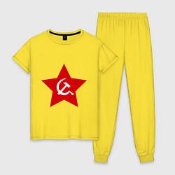 Пижама хлопковая женская Звезда с серпом и молотом цвета желтый — фото 1