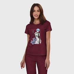 Пижама хлопковая женская Рей Аянами Evangelion цвета меланж-бордовый — фото 2