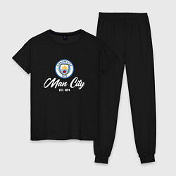 Пижама хлопковая женская MAN CITY EST 1894 цвета черный — фото 1