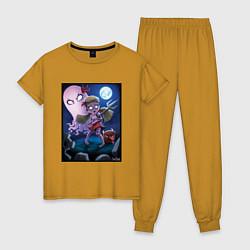 Пижама хлопковая женская Wendy love flower цвета горчичный — фото 1