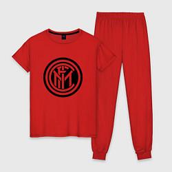 Пижама хлопковая женская INTERNATIONAL INTER MILAN цвета красный — фото 1