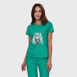 Пижама хлопковая женская Хацуне Мику цвета зеленый — фото 2