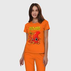 Пижама хлопковая женская RED HOT CHILI PEPPERS цвета оранжевый — фото 2