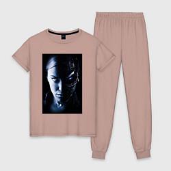 Пижама хлопковая женская Kristanna Loken цвета пыльно-розовый — фото 1