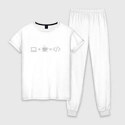 Пижама хлопковая женская Уравнение цвета белый — фото 1