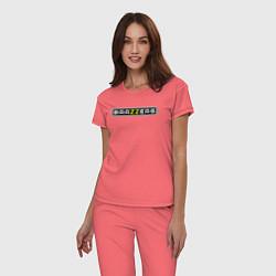 Пижама хлопковая женская Brazzers цвета коралловый — фото 2